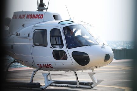Fontvieille, Monaco - March 25, 2018: Helicopter Ready For Takeoff In Monaco, Aerospace AS-350B Squirrel - 3A-MAC Parked Outside At The Heliport - Heli Air Monaco