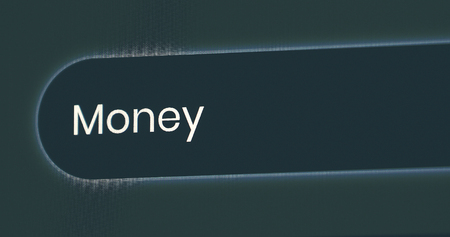 Word Money Written In Search Bar. Close Up View Of A Computer Monitor Screen