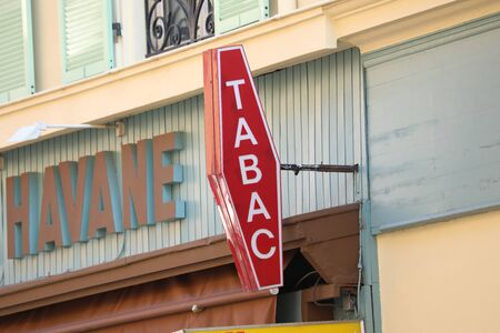 Menton, France - March 21, 2018: French Red And White Tobacco Sign. In France