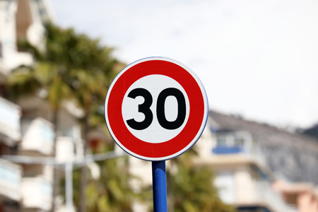 Road Sign, Speed Limit At 30 kmh Zone, Menton, France, Europe