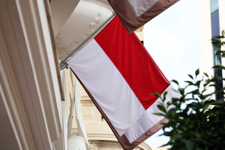 Flag Of Monaco On A Wall In Monte-Carlo, Monaco, Close Up View Foto de archivo - 119774032