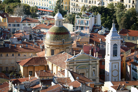 Aerial View Of The Baroque Cathedral Sainte-Reparade In The Old Town Of Nice On The French Riviera, Alpes-Maritimes, France, Europe