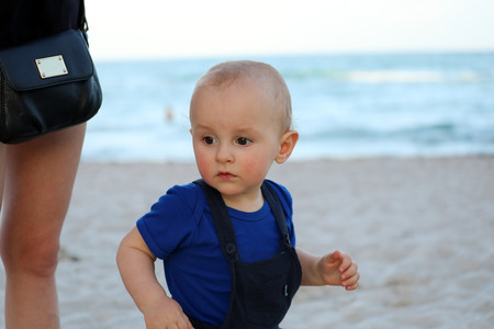 Beautiful Little Baby Boy Running On The Beach,  Miami Beach, Florida, United States - Close Up View