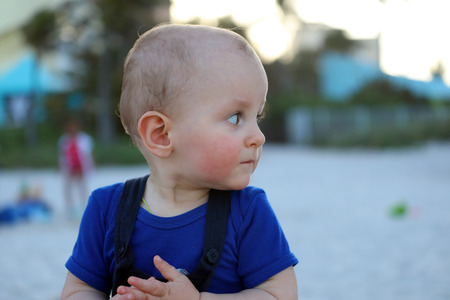 Beautiful Little Baby Boy On The Beach,  Miami Beach, Florida, United States - Close Up View 스톡 콘텐츠