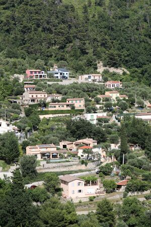 Many Houses On The Hill  In Castellar On The French Riviera, France, Europe