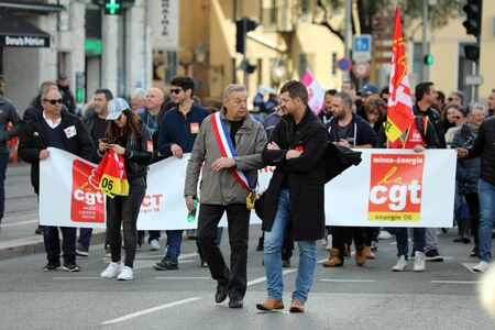 Nice, France - February 6, 2020: CGT Unionists March To Protest Against The Macron Government's Pension Reform Plan In Nice On The French Riviera, France, Europe