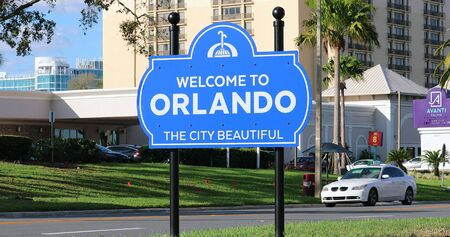 Orlando, Florida / USA, March 3, 2019: Welcome To Orlando The City Beautiful Sign On The International Drive In Orlando, Florida, United States