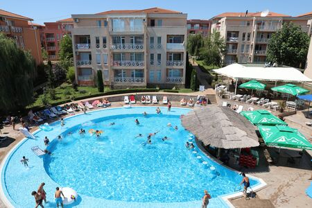 Sunny Beach, Bulgaria - August 8, 2019: Aerial View Of People Swimming In Pool In Sunny Day 6 Complex In Sunny Beach (Slanchev Bryag) On The Black Sea