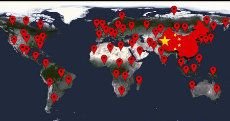 World Map Of The Spread Of Coronavirus Or COVID-19 Chinese Virus Infection With Red POI Markers Foto de archivo