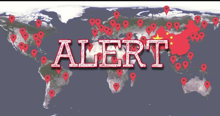 World Map Of The Spread Of COVID-19 Chinese Virus Infection With The Word Alert, Red POI Markers