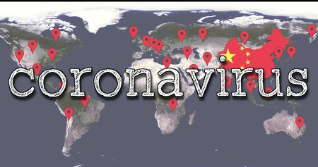 World Map Of The Spread Of COVID-19 Chinese Virus Infection With The Word Coronavirus, Red POI Markers