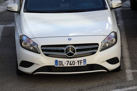 Monte-Carlo, Monaco - March 17, 2019: Beautiful Mercedes-Benz A Class Parked In Front Of Monte-Carlo Casino In Monaco On The French Riviera, Europe. Close Up View Editorial