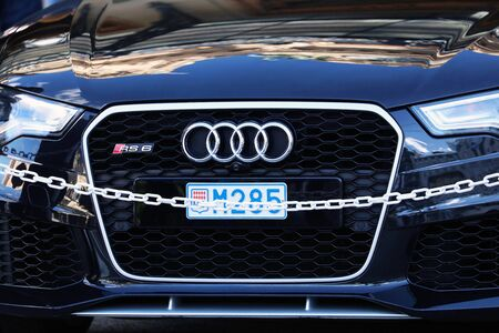 Monte-Carlo, Monaco - March 17, 2019: Beautiful Black Audi RS6 Luxury Car Parked In Front Of The Monte-Carlo Casino In Monaco On The French Riviera, Europe. Close Up Front View Editorial