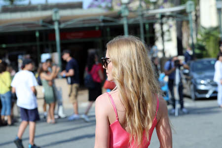 Monte-Carlo, Monaco - June 20, 2019: Beautiful Young Blond Woman Walking On The Street In Monaco, Monte-Carlo, Europe. Close Up Rear View Editorial