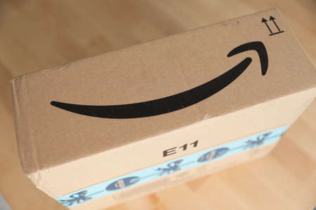 Roquebrune-Cap-Martin, France, November 3, 2018: Arrow Or Smile Logo Of Amazon On The Cardboard Box Of A Package Delivery From Amazon Prime, Close Up View