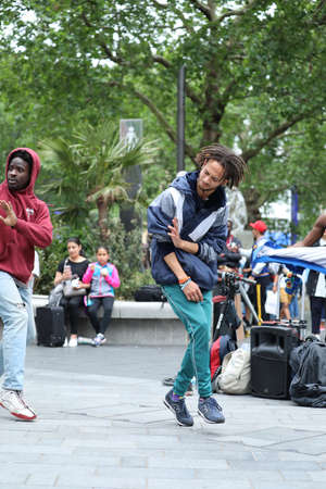 London, UK, May 31, 2019: Hip Hop Break Dancer Street Performers Moves In Leicester Square In London, United Kingdom, Europe