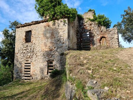 Ruined Stone House In The Provence Mountain Located In Roquebrune-Cap-Martin Village In The French Alps