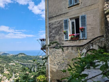 Typical Provencal House In Gorbio Village With The Mediterranean Sea In The Background, French Riviera, France, Europe Foto de archivo