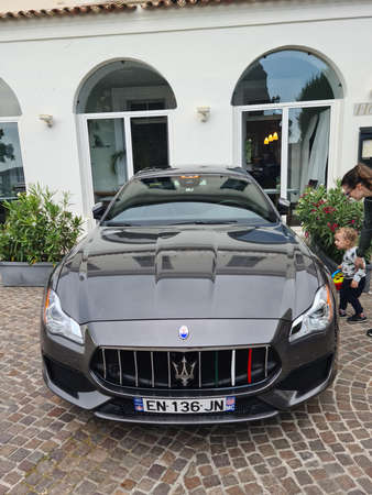 Roquebrune-Cap-Martin, France - May 28, 2020: Maserati Quattroporte GranSport  Sports Car Parked In Front Of A Hotel In Roquebrune-Cap-Martin On The French Riviera, France, Europe
