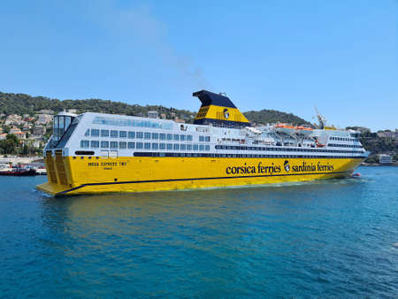 Nice, France - July 16, 2020: Corsica Ferries - Sardinia Ferries Shuttle With Passengers In The Port Of Nice, Mediterranean Sea, French Riviera, France, Europe