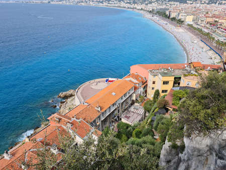 Nice, France - August 18, 2020: Beautiful Aerial View Of Nice Seaside, Mediterranean Sea And Promenade Des Anglais On The French Riviera, France, Europe
