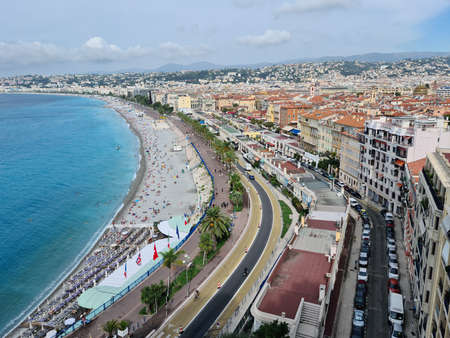 Nice, France - August 18, 2020: Beautiful Aerial View of Nice City, Mediterranean Sea And The Promenade Des Anglais On The French Riviera, France, Europe Editorial