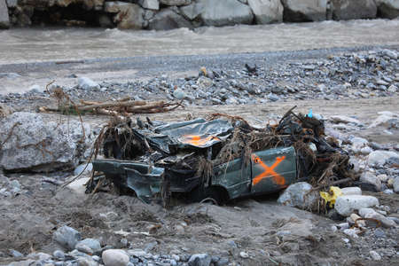 Breil-Sur-Roya, France - October 8, 2020: Town Of Breil-Sur-Roya Was Submerged By The Flooding Of The Roya River, SUV 4X4 Car Completely Destroyed During Storm Alex, Europe