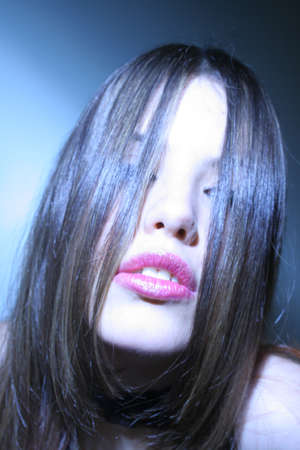 Sensual Lips Blue Light photo