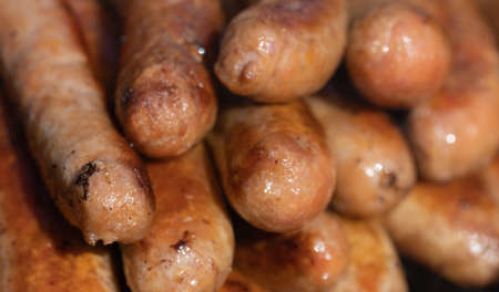 Closeup image of cooked sausages at an Australian election barbecue fund raiser