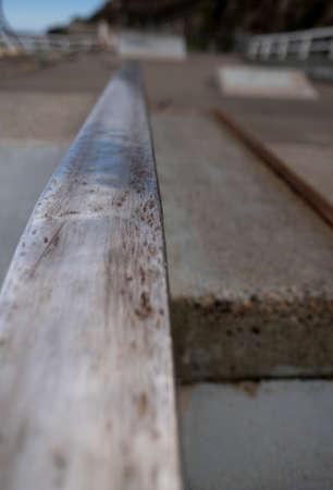 Close up of a rail at a beachside skate park Banco de Imagens