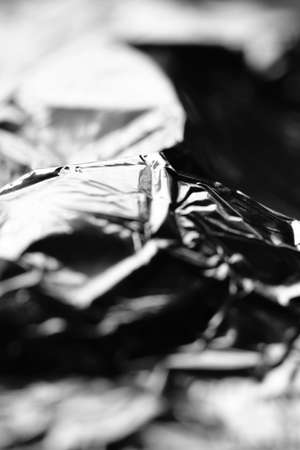 Macro, abstract  image of wrinkled aluminium foil packaging