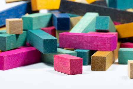 Vintage Set of Cuisenaire Rods Stacked in random pile against a white background
