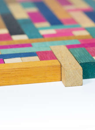 Vintage Set of Cuisenaire Rods laid out in a random order against a white background Banco de Imagens