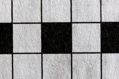 Macro image of the black and white empty crossword squares Stock Photo