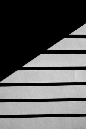 Black and white image of exterior house siding, with a strong shadow.