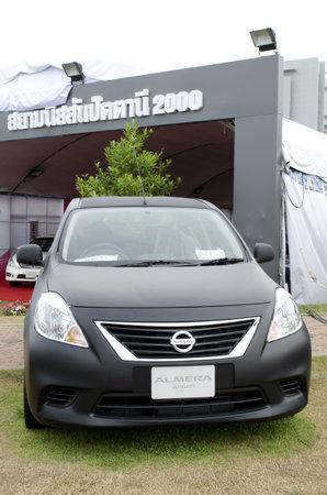 HATYAI, THAILAND - AUGUST 8 : Nissan Almera car at Siam Nissan Pattani (2000) booth in Kaset fair at songklanakarin university on August 18, 2012 in Hatyai Thailand.