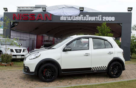 HATYAI, THAILAND - AUGUST 8 : Nissan Almera car at Siam Nissan Pattani (2000) booth in Kaset fair at songklanakarin university on August 18, 2012 in Hatyai Thailand.