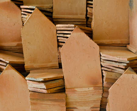 Stack of clay roof tiles, for thai vintage style house Stock Photo