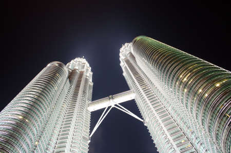 March 19: Petronas Twin Towers at night on March 19, 2012 in Kuala Lumpur