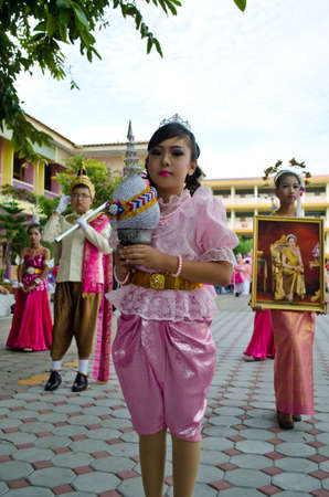 Songkhla - July 20: unidentified students during Anuban Songkhla game parade  on July 20, 2012 in Songkhla, Thailand. Editorial