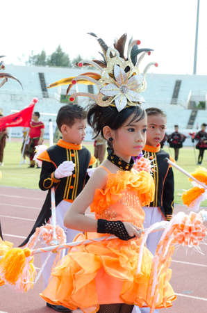 Songkhla - July 20: unidentified students in traditional dress during Anuban Songkhla game parade  on July 20, Songkhla Thailand. Editorial