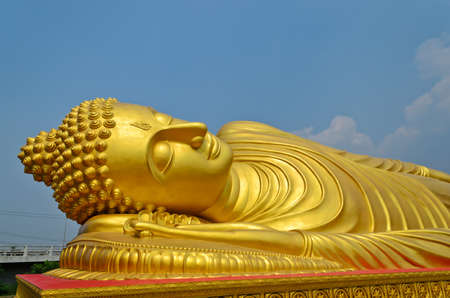 Reycling golden buddha statue at Songkhla province, South of Thailand photo