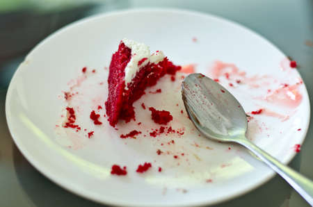 Eaten strawbrry cake Stock Photo