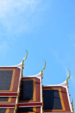 Temple roof against blue skyat wat po, Bangkok, Thailand