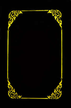 filagree: Empty golden vintage frame isolated on black background