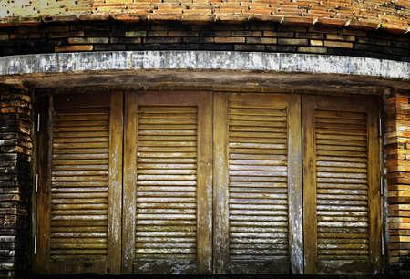 Old vintage window with wooden lattice