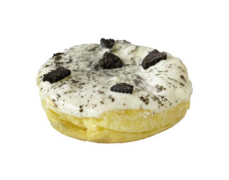Closeup donut with white icing and chocolate cookies topping isolated on white  with clipping path