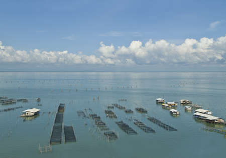 Fish coop farm in Songkhla Lake Thailand photo