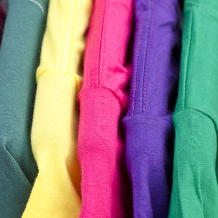 Close-up of colorful clothing, abstract striped background  photo