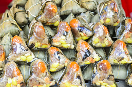 Zongzi or rice dumplings, traditional Chinese food Stock Photo